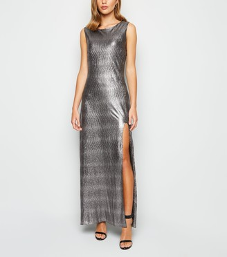 New Look Mela Metallic Side Split Maxi Dress