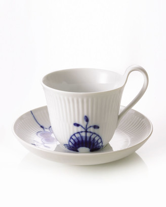 Royal Copenhagen Blue Fluted Mega High Handle Cup & Saucer