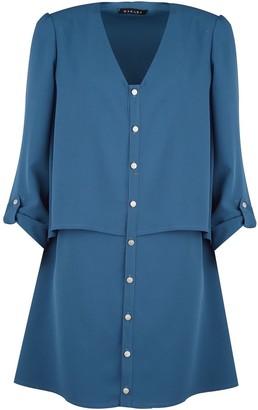 Manley Layla Tiered Shirt Dress Azure Blue