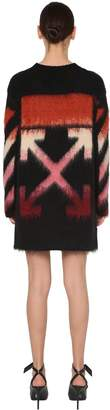 Off-White Off White Intarsia Wool Blend Knit Dress
