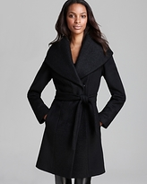 Women's Black Belted Wrap Coat - ShopStyle UK