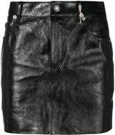 Saint Laurent mini skirt - women - Silk/Calf Leather/zamac - 36