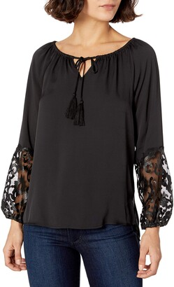 Love Scarlett Women's Petite Lantern Sleeve with Tassel Closure Neckline