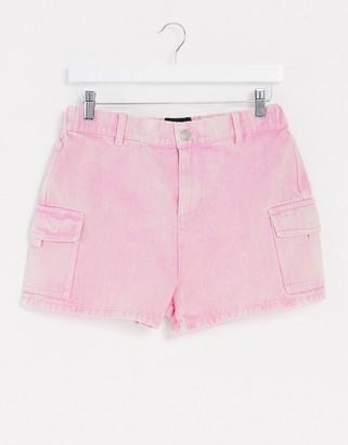 Brave Soul acid wash denim utility shorts in pink