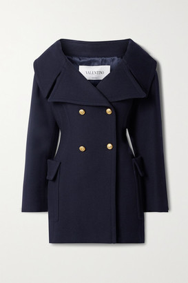 Valentino Off-the-shoulder Double-breasted Wool-twill Coat - Midnight blue