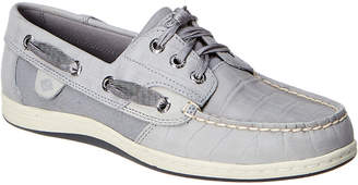 Sperry Songfish Croc-Embossed Leather & Canvas Boat Shoe