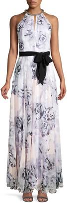 Calvin Klein Floral-Print Halter Gown
