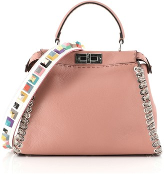Fendi Peekaboo Bag Leather with Python Whipstitch Regular