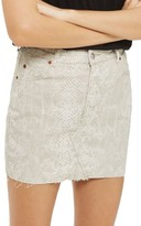 Topshop Women's Coated Snake Denim Miniskirt
