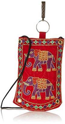 "Wild Hazel Mobile Holder With Key Chain Elephant Embroidered Mirror Work Assorted Color 4""x6.5"""
