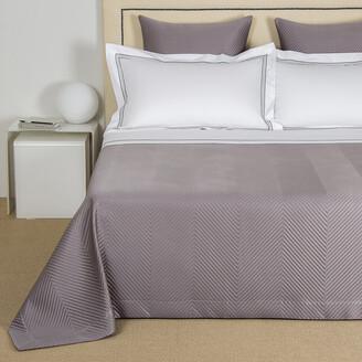 Frette Luxury Herringbone Bedspread - Slate Grey