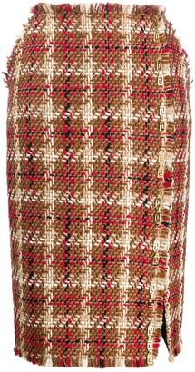 Versace Tweed Side Slit Skirt
