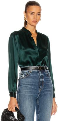 L'Agence Bianca Band Collar Blouse in Dark Glade | FWRD