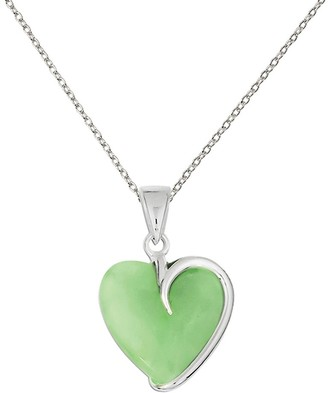 Sterling Silver Green Jade Heart Pendant with 18-inch Cable Chain by Versil
