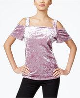 INC International Concepts Velvet Cold-Shoulder Top, Only at Macy's