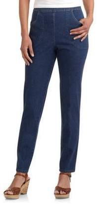 Realsize RealSize Womens 2 Pocket Stretch Denim Pull On Pant
