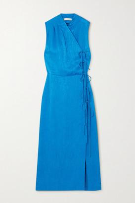 USISI SISTER Jana Jacquard Wrap Midi Dress - Azure