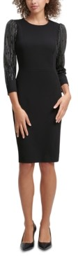 Calvin Klein Petite Embellished-Sleeve Sheath Dress