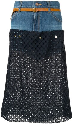 Kolor Perforated Jean Skirt
