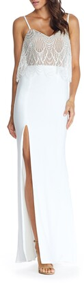 Dress the Population Roselyn Lace Popover Bodice Trumpet Gown