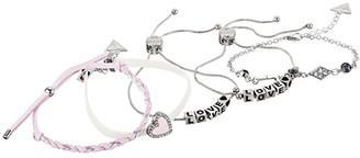 GUESS Five-Piece Mixed Media Bracelet Set (Silver/Pink) Bracelet