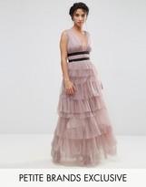 True Decadence Petite Ruffle Skirt Maxi Dress With Contrast Detail
