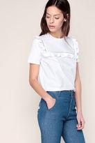 Manoush T-shirt Blanc Empiècement