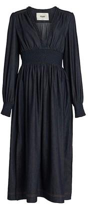 Fendi Shirred Denim Midi Dress