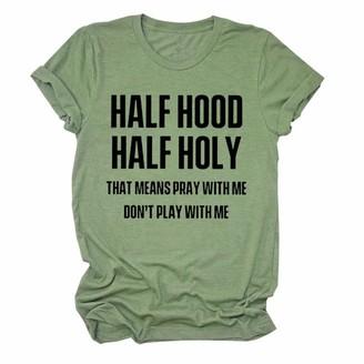 Luohua Half Hood Half Holy T Shirt Women's Short Sleeve Shirts Crewneck Tops Casual Loose Blouses Tees Yellow
