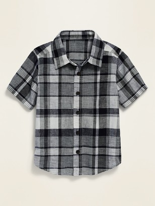 Old Navy Plaid Linen-Blend Shirt for Toddler Boys