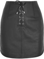 Topshop Unique - Swinton Textured-leather Mini Skirt - Black