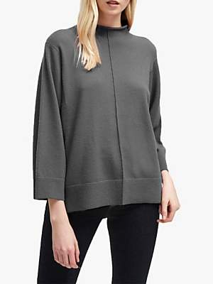 694d480ce13 at John Lewis and Partners · French Connection Ebba Vhari High Neck Rib  Trim Jumper, Charcoal Grey Melange