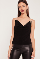 Missguided Gold Chain Cowl Neck Cami Top Black