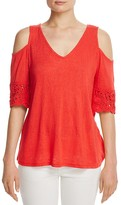 Red Haute Cold-Shoulder Crochet-Sleeve Top