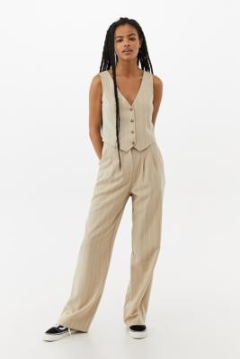 Urban Renewal Vintage Urban Outfitters Archive Sand Pinstripe Waistcoat - Beige XS at Urban Outfitters
