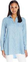 Foxcroft Women's Hi-Lo Dot Print Tencel Tunic