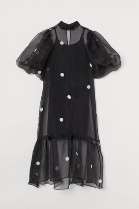 H&M Balloon-sleeved Organza Dress - Black