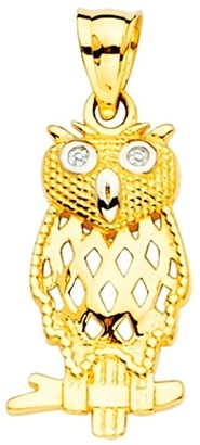 Curata 14k Yellow Gold Owl Pendant Necklace 8x23mm Jewelry Gifts for Women