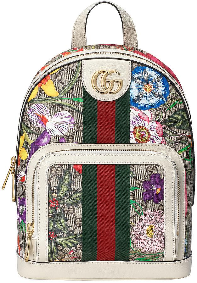Gucci Supreme GG Flora Backpack in Beige Ebony & White | FWRD