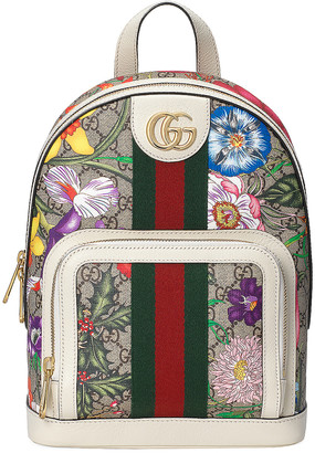 Gucci Supreme GG Flora Backpack in Beige Ebony & White | FWRD
