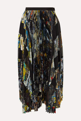 Sacai Asymmetric Pleated Printed Crepe Wrap Midi Skirt - Navy