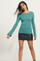 Dynamite Ribbed Bell Sleeve Knit Top