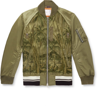 Sacai + Sun Surf Diamond Head Embroidered Nylon Bomber Jacket