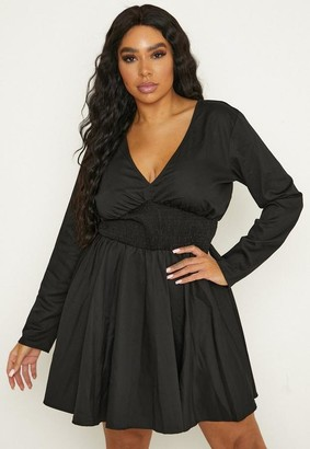 Missguided Plus Size Black Shirred Waist Mini Dress