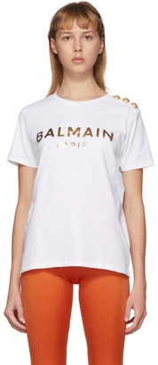 Balmain Black and Gold 3-Button Metallic Logo T-Shirt