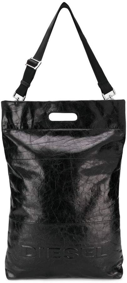 Diesel crinkled leather shopper tote