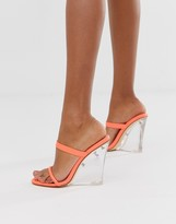 clear Simmi Shoes Simmi London Sierra neon orange wedge sandals