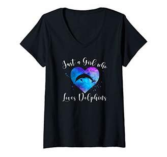 Womens JUST A GIRL WHO LOVES DOLPHINS Women Kids Dolphin Lover Gift V-Neck T-Shirt