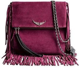 Zadig & Voltaire Rockson Large Fringed Suede Clutch