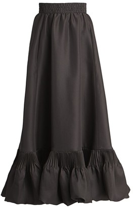 Valentino Long Flounce-Hem Silk Skirt